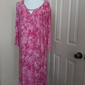 NY Collection Plus Size Mixed-Print pink dress 10
